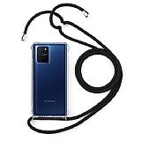 Samsung Galaxy S10 Lite Siyah Askılı Şeffaf Silikon Kılıf