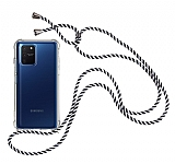 Samsung Galaxy S10 Lite Çizgili Askılı Şeffaf Silikon Kılıf