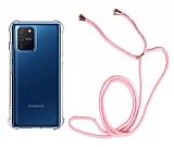 Samsung Galaxy S10 Lite Pembe Askılı Şeffaf Silikon Kılıf