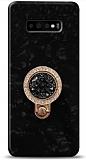 Samsung Galaxy S10 Mozaik Yüzüklü Siyah Silikon Kılıf