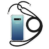 Samsung Galaxy S10 Plus Siyah Askılı Şeffaf Silikon Kılıf