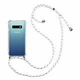Samsung Galaxy S10 Plus Beyaz Çizgili Askılı Şeffaf Silikon Kılıf