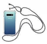 Samsung Galaxy S10 Plus Çizgili Askılı Şeffaf Silikon Kılıf