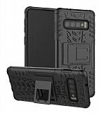 Samsung Galaxy S10 Süper Koruma Standlı Siyah Kılıf