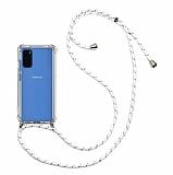 Samsung Galaxy S20 Plus Beyaz Çizgili Askılı Şeffaf Silikon Kılıf
