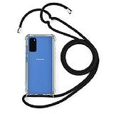 Samsung Galaxy S20 Plus Siyah Askılı Şeffaf Silikon Kılıf