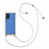 Samsung Galaxy S20 Ultra Beyaz Çizgili Askılı Şeffaf Silikon Kılıf