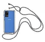 Samsung Galaxy S20 Ultra Çizgili Askılı Şeffaf Silikon Kılıf