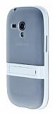 Samsung Galaxy S3 Mini Standlı Şeffaf Beyaz Silikon Kılıf
