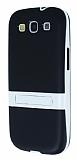 Samsung Galaxy S3 Standl� �effaf Siyah Silikon K�l�f