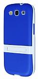Samsung Galaxy S3 Standl� �effaf Mavi Silikon K�l�f
