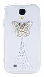 Samsung i9500 Galaxy S4 Ta�l� Kelebek �effaf Silikon K�l�f