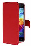 Samsung Galaxy S5 mini Cüzdanlı Yan Kapaklı Kırmızı Deri Kılıf