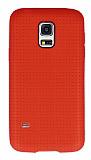 Samsung Galaxy S5 mini Nokta Desenli Mat Kırmızı Silikon Kılıf