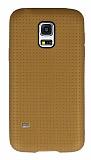 Samsung Galaxy S5 mini Nokta Desenli Mat Gold Silikon Kılıf