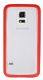 Samsung Galaxy S5 mini Pembe Silikon Kenarlı Şeffaf Rubber Kılıf