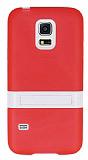 Samsung Galaxy S5 mini Standlı Kırmızı Silikon Kılıf