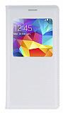 Samsung Galaxy S5 mini Uyku Modlu Pencereli Beyaz Kılıf