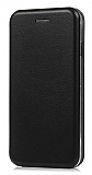 Samsung Galaxy S6 Curve Manyetik Kapaklı Siyah Deri Kılıf
