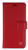 Samsung Galaxy S6 Cüzdanlı Yan Kapaklı Kırmızı Deri Kılıf