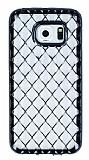 Samsung Galaxy S6 Edge Diamond Siyah Kenarlı Şeffaf Silikon Kılıf