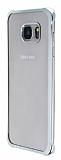 Samsung Galaxy S6 Edge Silver Kenarlı Şeffaf Rubber Kılıf