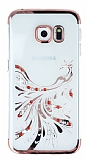 Samsung Galaxy S6 Edge Rose Gold Peacock Taşlı Şeffaf Silikon Kılıf