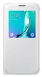 Samsung Galaxy S6 Edge Plus Orjinal Pencereli View Cover Beyaz Kılıf