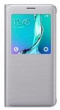 Samsung Galaxy S6 Edge Plus Orjinal Pencereli View Cover Silver Kılıf