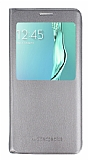 Samsung Galaxy S6 Edge Plus Pencereli İnce Yan Kapaklı Gold Kılıf