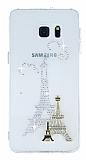 Samsung Galaxy S6 Edge Plus Taşlı Paris Şeffaf Silikon Kılıf