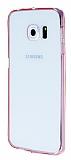 Samsung Galaxy S6 Edge Plus Pembe Silikon Kenarlı Kristal Kılıf
