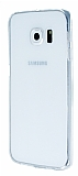 Samsung Galaxy S6 Edge Plus Beyaz Silikon Kenarlı Kristal Kılıf
