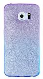 Samsung Galaxy S6 Edge Simli Mor Silikon Kılıf