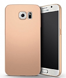 Samsung Galaxy S6 Edge Tam Kenar Koruma Gold Rubber Kılıf