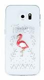 Samsung Galaxy S6 Edge Taşlı Flamingo Şeffaf Silikon Kılıf