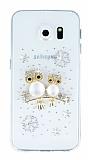Samsung Galaxy S6 Edge Taşlı Baykuş Şeffaf Silikon Kılıf