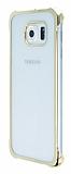 Samsung Galaxy S6 Gold Kenarlı Şeffaf Rubber Kılıf