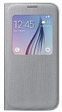 Samsung i9800 Galaxy S6 Fabric Orjinal Uyku Modlu Pencereli Gri Kılıf