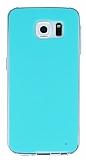 Samsung Galaxy S6 Şeffaf Kenarlı Su Yeşili Silikon Kılıf