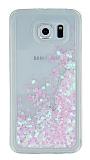 Samsung Galaxy S6 Simli Sulu Açık Pembe Rubber Kılıf