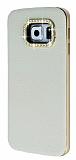 Samsung Galaxy S6 Edge Taşlı Metal Kenarlı Beyaz Deri Kılıf