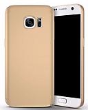 Samsung Galaxy S7 Tam Kenar Koruma Gold Rubber Kılıf