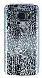 Samsung Galaxy S7 Deri Desenli Parlak Silver Silikon Kılıf