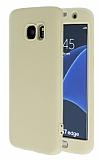 Samsung Galaxy S7 edge 360 Derece Koruma Likit Gold Silikon Kılıf