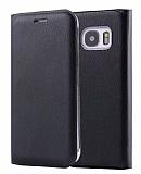 Samsung Galaxy S7 edge İnce Yan Kapaklı Cüzdanlı Siyah Deri Kılıf
