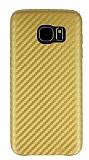 Samsung Galaxy S7 Edge Karbon Görünümlü Gold Rubber Kılıf