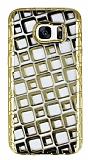Samsung Galaxy S7 Edge Kare Desenli Gold Silikon K�l�f