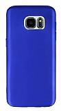 Samsung Galaxy S7 Edge Metal Kamera Korumalı Lacivert Silikon Kılıf