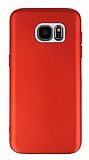 Samsung Galaxy S7 Edge Metal Kamera Korumalı Kırmızı Silikon Kılıf